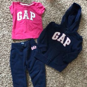 Gap sweat shirt and pants. With matching t-shirt